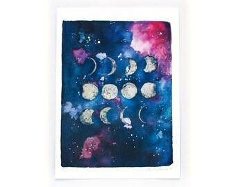 Watercolour Art Print - Moon Phase
