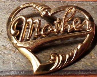 Vintage Mother Heart Pin Brooch Jewelry Mothers Day Gift