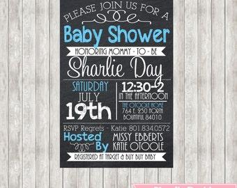 4X6 Digital Chalkboard Baby Shower Invite - Blue - Baby Boy