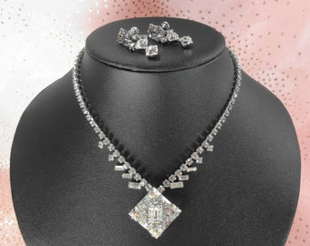 Rhinestone Necklace and Earrings