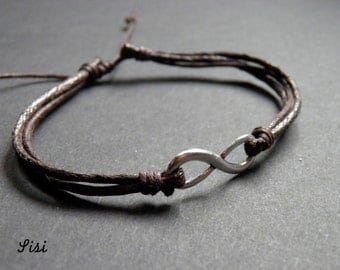 Silver Bracelet dark brown cotton cord infinity