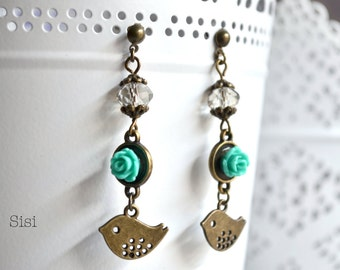 Earrings birds green flower