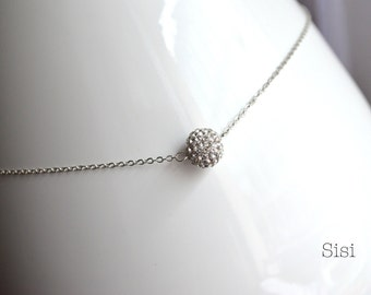 Silver necklace pendant crystal ball