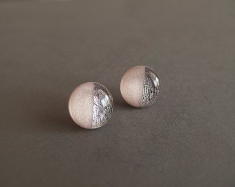 Light Pink and Silver Round Stud Earrings - Surgical Steel Posts
