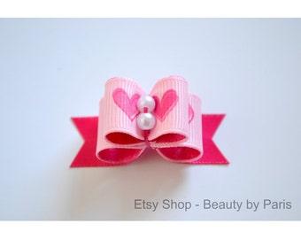 Pink Hearts - Dog Bow