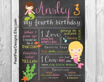 Mermaid Birthday Chalkboard Poster Sign: Year Girl / Boy First Birthday Mermaid Chalkboard Stat digital file prop/decor