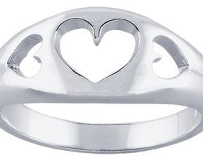 Sterling Silver Tapered 3-Hearts Cut-Out Ring