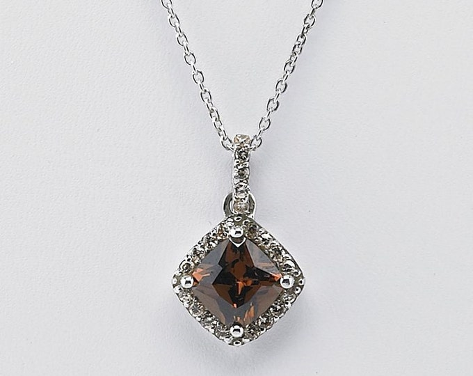 Better Than Chocolate Sterling Silver Necklace with Chocolate CZ Pendant ~ Free Shipping