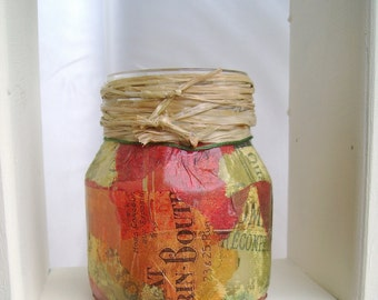 Half price sale - was 7.00 -- Rustic decoupaged candle holder, Decorative container, Pencil holder, Chocolate, Butterscotch, Raffia