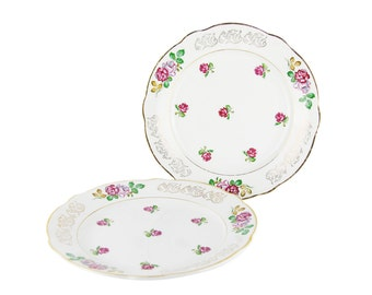 "SPECIAL OFFER - Set of 2 vintage plates - french earthenware Luneville - ""ROSES"""