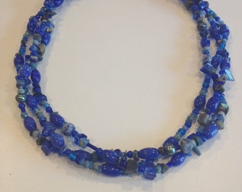 FREE SHIPPING Cobalt Blue Statement Necklace, One-of-a-Kind