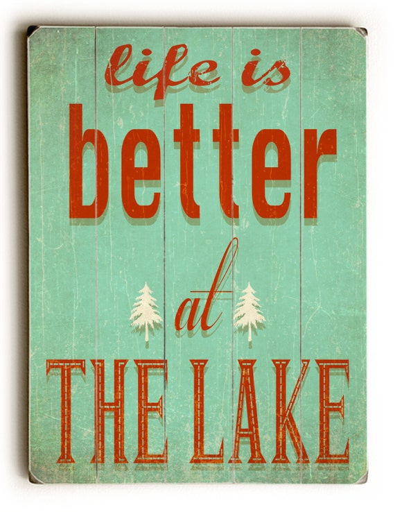 Wooden Sign Wall Hanging Lake Print Home Decor