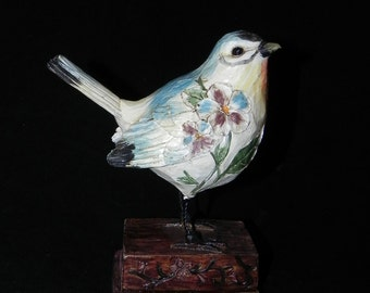 Hand Carved & Painted Wood Bird That Tweets on Pedestal Flowers