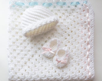 Baby set, handmade blanket, hat and booties, crocheted