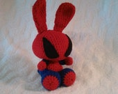 Crochet Blue and Red Superhero Bunny Rabbit with Rattle Easter Present Birthday Gift Small Stuffed Animal Inexpensive Toy Free Shipping