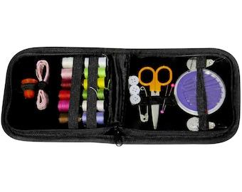 Zipping Travel Sewing Kit Needles Thread Scissors & more - Black  (Item #2348)