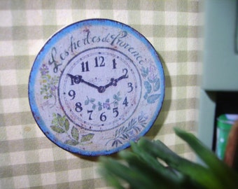 Herbes de Provence Miniature Wooden Wall Clock