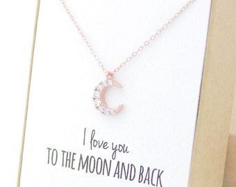 Rose Gold Crescent Moon Necklace - I love you to the moon and back necklace, Mother's Day Gift Jewelry, gifts for mom from daughter, Crystal