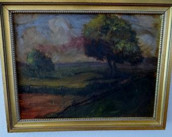 Vintage Oil on Canvas Dark Landscape