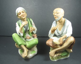 Ceramic Man and Woman figurines, Oriental Figurines, collectible, gift, vintage figurine,