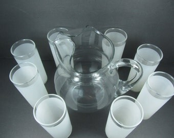 Pitcher and Glasses, Clear Glass Pitcher,Frosted Glasses, Retro Glassware, Mid Century