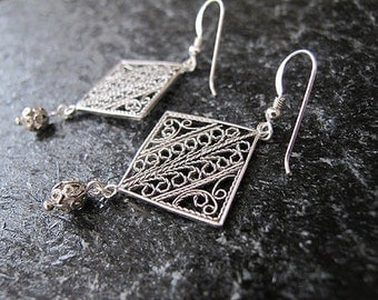 Silver filigree earrings,Jewelry, Earrings , Filigree earrings ,  Silver earrings, Israel jewelry,Yemenite jewelry