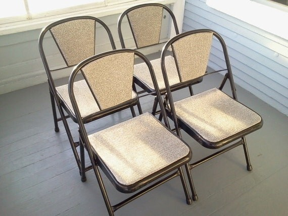 Sale Folding Chairs Four Mid Century Modern by RhymeswithDaughter