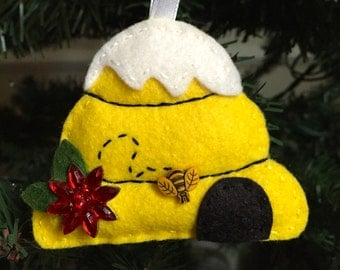Felt Beehive Ornament with Snow and Poinsettia