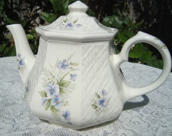 Windsor Octagon Teapot with Light Pansies Made in England
