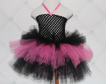 TUTU DRESS...Black and Hot Pink Layered Tutu Dress...Newborn Tutu..Baby Tutu..Toddler Tutu..Cakesmash Tutu..Birthday Tutu..Summer Dress