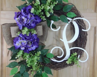 spring wreath - purple hydrangea - summer wreath - easter wreath - hydrangea wreath - mothers day - housewarming