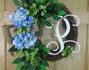 spring wreath - summer wreath - blue hydrangea wreath - mothers day - housewarming