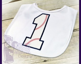 Baseball First Birthday Baby Bib