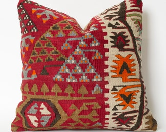 Vintage Kilim Pillow Cover - Decorative Kilim Pillows Maroon Red Hand Woven Wool Bohemian Home Decor Sofa Accent Pillow Throw Kilim Pillow