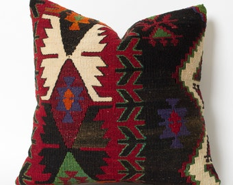 Vintage Tribal Handwoven Turkish Kilim Pillow Cover - 16x16 inch Bohemian Throw Pillow Cover Decorative Pillows For Couch Floor Pillow