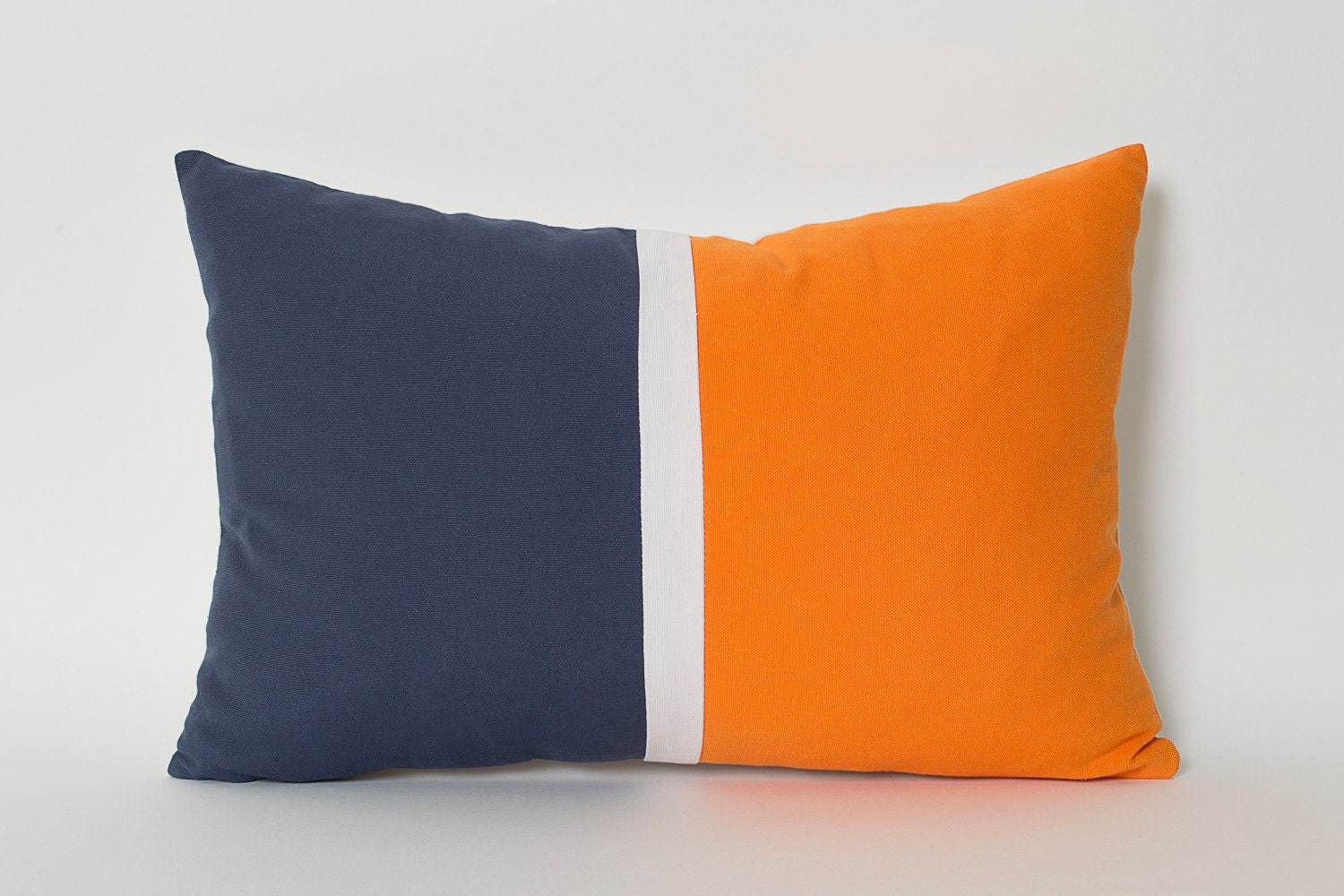 Navy blue and yellow decorative pillows - Navy Blue Orange White Linen Color Block Solid Pillow Cover Custom Size Lumbar Pillows Navy