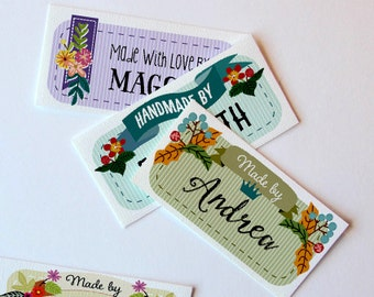 """Custom Fabric Label Over the Garden Wall,  Sew-on or Iron-on • 80 Labels  2 x 1"""" Uncut • For Crochet, Knitting, Sewing  • 8 Tag Styles"""