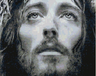 Jesus in Black and White Cross Stitch Pattern
