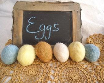 Felted Easter Eggs, Felted Eggs, Felted Eggs Bowl Filler, Ornies, Farm Decor, Primitive Eggs, Felted Wool