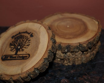 Drink Coaster Set of 4, Butternut Hardwood Coasters, Hardwood Coasters, Handmade Wood Coaster Set
