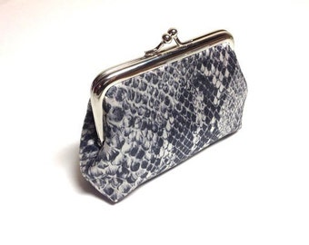 Grey Snakeskin print coin purse
