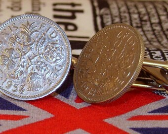 Boxed Pair Vintage British 1958 Lucky Sixpence Six Penny Coin Cufflinks Wedding 58th Birthday Anniversary