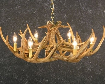 Antler Chandelier, W9 Faux Antlers, Rustic Lighting