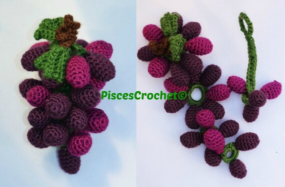 Grapes Crochet Pattern Amigurumi Play Food Softie by ...