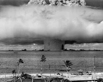 1946 Operation Crossroads, Micronesia Nuclear Atomic Bomb Test  Old Photo Print Photograph Giclee Print