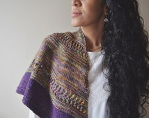 Marsh Sunset Shawl- knit , scarf, wrap, purple, rust, green, variegated colors, spring , fall