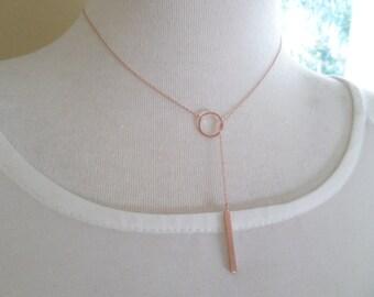 Rose Gold Bar Lariat Necklace - drop necklace, Y necklace, Adjustable Karma Vertical bar, dainty ,simple, wedding, bridesmaid jewelry