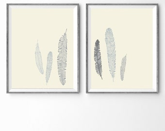 "38"" x 18"" - Kids Room Wall Art - Feather Pairing"