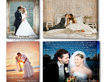 Wedding anniversary gift. Custom Canvas Print. Your Wedding Photo with your Lyrics, Vows, Love Story.
