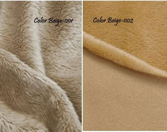 Minky smooth fabric, ultra soft cuddly velboa microfiber fabric, color BEIGE, other colors available.